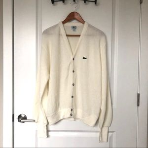 LIKE NEW Vintage Izod Lacoste Cream Cardigan